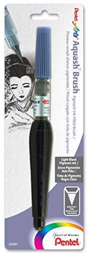 Pigment Black Light Light - Pentel Arts Aquash Pigment Ink Brush, Light Black Ink, Pack of 1 (FRHMNBPA)