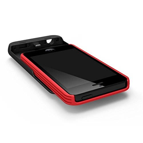 Tylt IP5PCRD2-T Energi Sliding Power Case for iPhone 5/5S/5C-Retail Packaging-Red