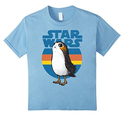 Kids Star Wars Last Jedi Porg Retro Stripes Logo Graphic T-Shirt 8 Baby Blue by Star Wars