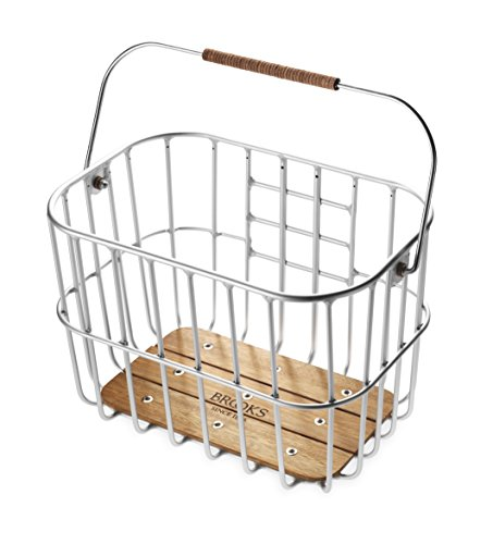 Brooks Saddles Hoxton Wire Bicycle Basket with Wooden Base (click-fix mount included)