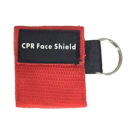 Sairis 2Pcs Primeros Auxilios portátiles Mini RCP Llavero Máscara/Escudo Facial Kit de Barrera Máscaras de Cuidado de la Salud 1- Válvula de Forma Vac ...