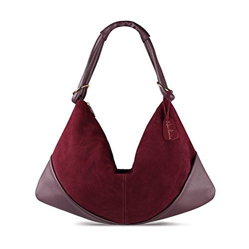 Nico Louise Suede Leather Hobo Bag Top Handle Women Dumpling Bag Large Handbag (Burgundy) ()