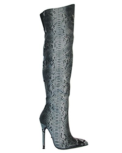 Boot Women's Grey US Fierce 9 Highest M PU 5 Snake 11 Heel 75qIWWxwX