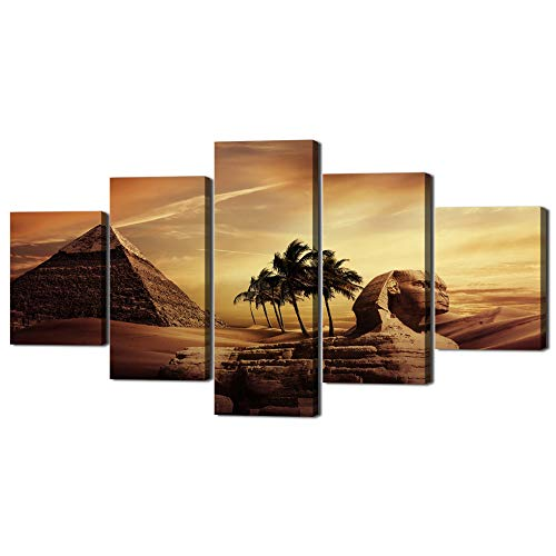 Ancient Egypt Secrets Large Painting on Canvas Modern Pyramid Sphinx Wall Art Post and prints Home Decoration for living room Pictures 5 Piece Multi Panel HD printed Framed Ready to Hang(60''Wx32''H)