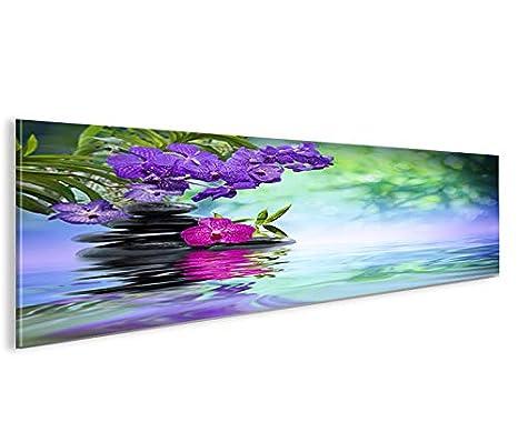 Wasser Zen V3 Panorama Format Bild auf Leinwand Poster Wandbilder