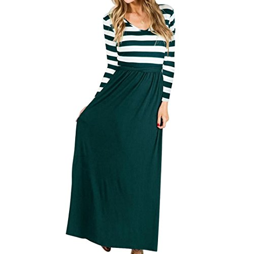 Rambling Popular Womens Casual Bohemian Striped Long Sleeve Maxi Long Dress with Belts by Rambling