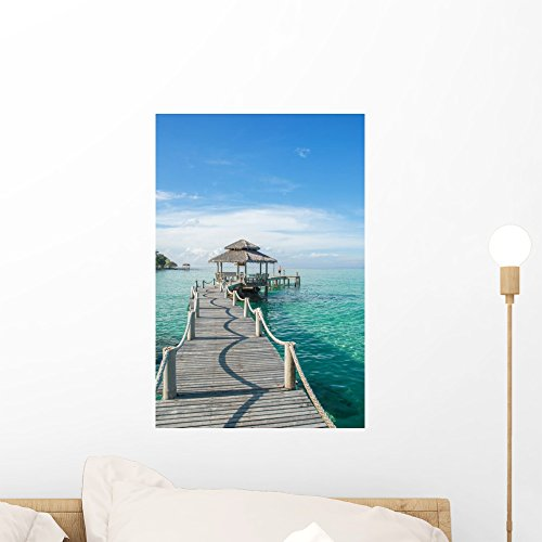 Tropical Hut and Wooden Wall Mural by Wallmonkeys Peel and Stick Graphic (18 in H x 12 in W) - Hut Copy