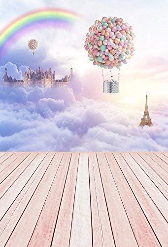 CdHBH 10x12ft Pink Tone Fantasy Castle Cloud Sky Hot Air Balloon Eiffel Tower Vinyl Material Portrait Clothing Photo Photography Background Cloth Festival Venue Party Arrangement