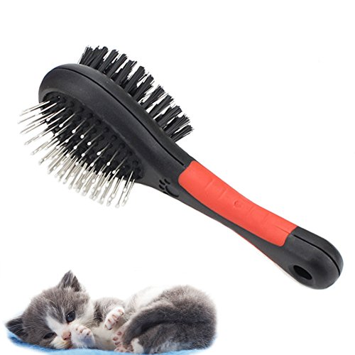Fast and Good Professional Double Sided Pin & Bristle Combo Brush for Dogs & Cats, Grooming Comb for Cleaning Shedding & Dirt Short Medium or Long Hair + Durable Slider Storage Bag