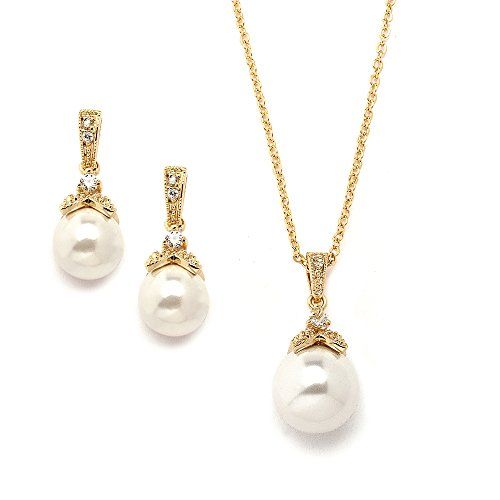(Mariell Vintage Gold Ivory Pearl Wedding Necklace & Earrings Set - Jewelry Set for Brides & Bridesmaids)
