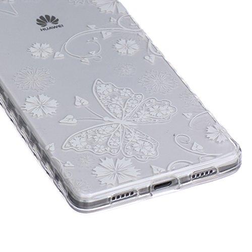 [Extremadamente Delgada] Funda 3D Silicona Transparent para Huawei P8 Lite ,Funda TPU Ultra Slim para Huawei P8 Lite , TOCASO Case Fina Slim Fit Cristal Clear, Transparent Slicona Clear Cover Glitteri Mariposa Blanca
