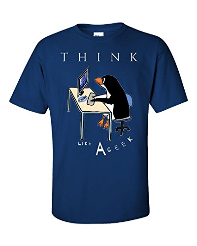 Think Like a Geek Cool Penguin Funny Sarcastic Graphics, Design Style - Unisex T-Shirt ()