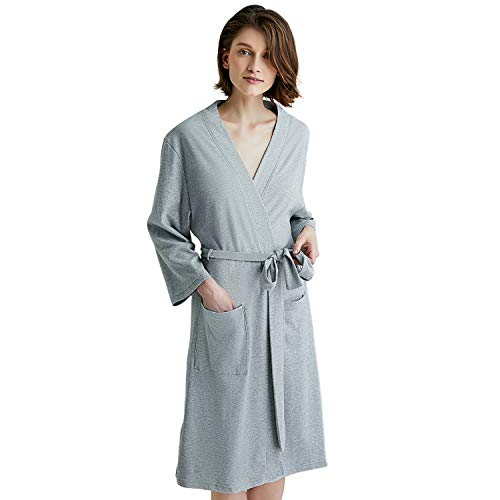 - U2SKIIN Kimono Bathrobe for Women with 3/4 Sleeves, Lightweight Cotton Short Robe Ladies Longewear for SPA Bathing Wedding … Grey