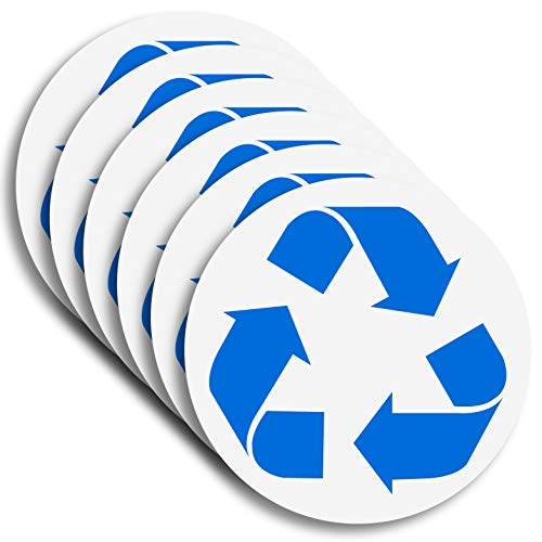 6 Pack (5in x 5in Blue/White) Recycle Logo Sticker to Organize Your Trash - 7 Mil - Laminated - for Trash cans, Garbage containers and Recycle Bins - Premium Vinyl Decal ()