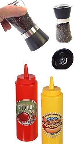 quetschf solapas 400ml 2pieza Ketchup Mostaza dispensador rojo amarillo Sauce Botella Dispensador + pimienta