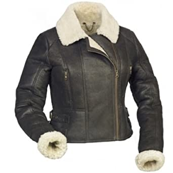 Ladies Luxury Leather Aviator / Bomber Jacket with Sheepskin ...