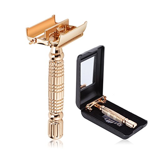 BAILI Luxury Classic Men's Double Edge Safety Razor Shaver Twist Butterfly Open Head with 1 Platinum Blade 1 Mirrored Travel Case, Rose Gold, BD177