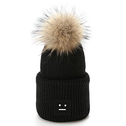 Raccoon Pompom Beanie Cable Knit Thick Warm Hat Smiley Face (Black1) (Party Hat Smiley)