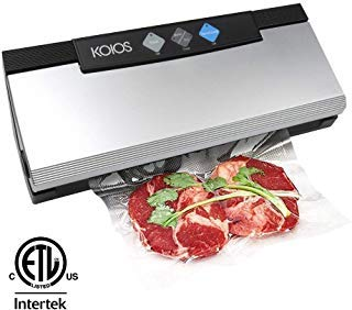 KOIOS Vacuum Sealer 80Kpa Vacuum Sealing System with Cutter, 10 Sealing Bags (FDA-Certified) - FRESH UP TO 5x Longer | With Up To 40 Consecutive Seals | Dry & Moist Modes