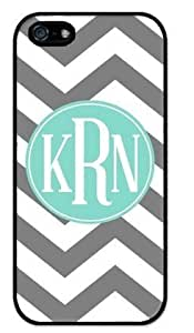 Monogram Personalized Grey and White Chevron Pattern with Turquoise Circle APPLE IPHONE 5 or 5S Best Durable Rubber+PVC Cover Case By Perfect Arts