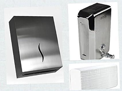 Juego Dispensador de toallitas de papel plegadas Z-Falz y Dispensador jabón De Acero para