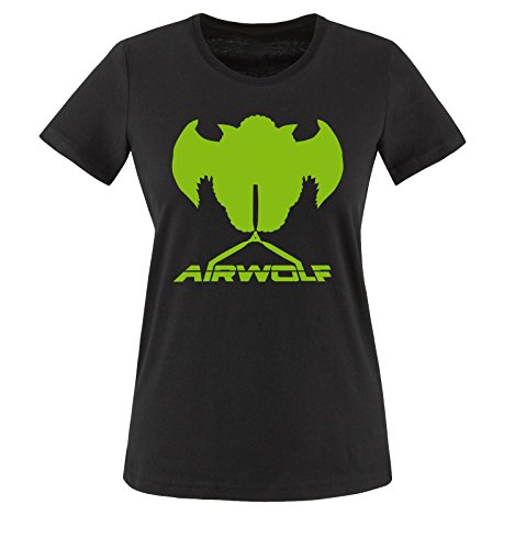 Air wolf Manga corta verde Negro Mujer Camiseta Negro BdqCBwE