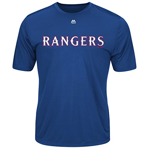 Majestic MLB Texas Rangers Adult Evolution Tee T-Shirt Royal Size 2XL Blue