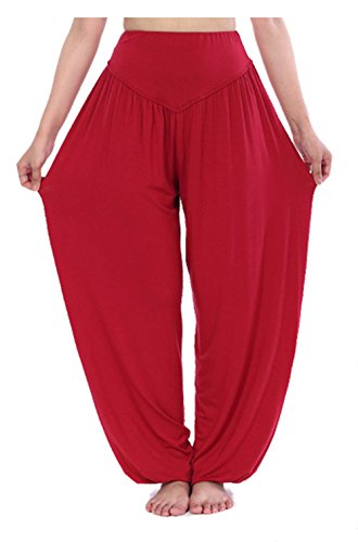 Hoerev Super Soft Modal Spandex Harem Yoga/Pilates Pants (Yoga Harem Pants Red)