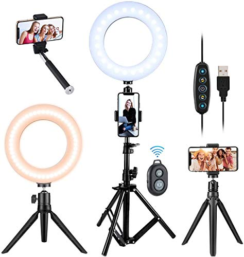 VicTsing LED Ring Light with Tripod Stand, Desk & Floor Standing, 6.3