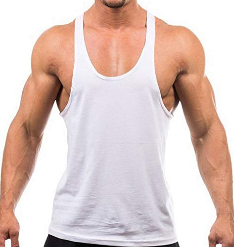Mens Blank Stringer Bodybuilding Gym Tank Tops,White,Medium