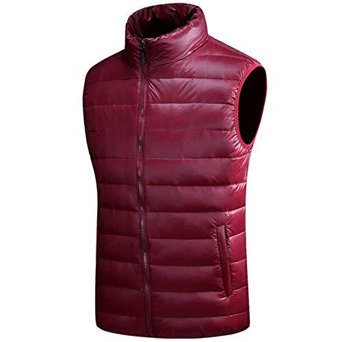 Laisla fashion Men's Nenet Quilted Vest Mens Winter Jacket Down Coat Warm Clásico Vest Sleeveless Down Jacket Coat Vests Boy Dark Red