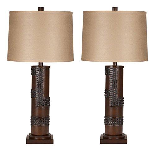 Ashley Furniture Signature Design - Oriel Table Lamps - Contemporary Drum Shades - Industrial - Set of 2 - Antique Copper & Wood Finish - Antique Drum Table