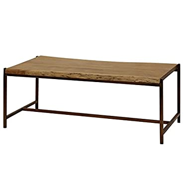 StyleCraft Live Edge Solid Sheesham Wood Coffee Table in Natural Stain Finish