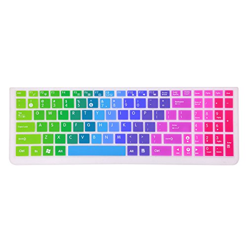 Keyboard Cover Compatible ASUS PRO P2530UA P2540NV/UA/UB /Old ASUS Laptop with Numeric Keypad /VivoBook 15.6'' X540SA/NA X541UA/SA X542BA F542UA X751NA X555LA R540NA -Check Layout with Image 2 Rainbow