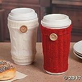 Set of 2 Travel Mug Sweater Sleeves, 1 White Sweater Sleeve and 1 Red Sweater Sleeve