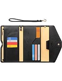 Passport Holder Travel Wallet (Ver.5) for Women Rfid Blocking Multi-purpose Passport Cover Case Document Organizer Wrist Strap