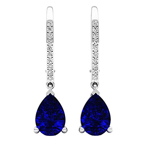 Dazzlingrock Collection 10K 10X7 MM Pear Lab Created Blue Sapphire & Round Diamond Ladies Drop Earrings, White -