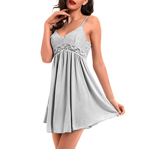 - Women Lace Lingerie Sleepwear Chemises V-Neck Full Slip Babydoll Nightgown Dress Gray L