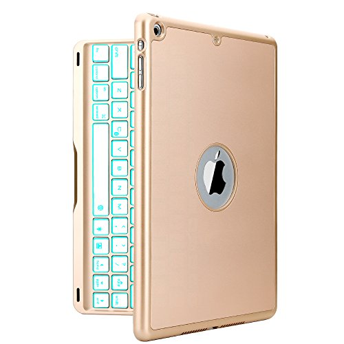 iPad Air Keyboard Case, iEGrow F8S Slim Bluetooth Clamshell Protective Cover with 7 Colors LED Backlit Keyboard for iPad Air Model A1474/A1475/A1476