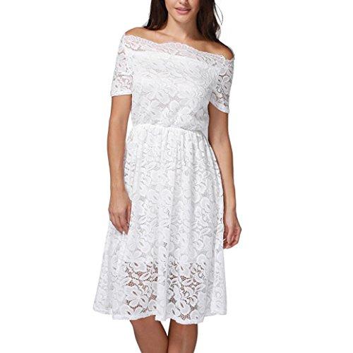 Cordón del Casual Partido del Las de Mujer Floral Vestido Culater Blanco del Tarde nCqAg0nw