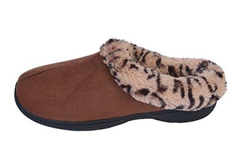 Joan Vass Kvinna Mysig Uppvärmningen Täppa Toffel Med Leopard Fuskpäls Inre Kamel