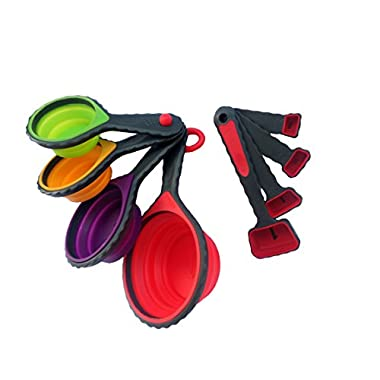 Silicone collapsible measuring cups & measuring spoons, set of 8 pieces or 8 sizes by Osgusta