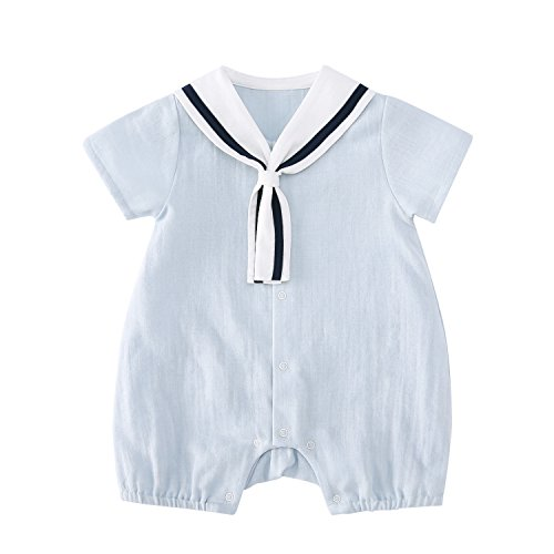 pureborn Baby Boys Marine Sailor Short Sleeve Collar Romper Summer Costumes Breathable Muslin Cotton Blue 12-24 Months