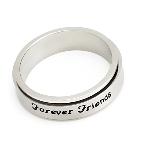 BFF Spinner Ring, Metal Ring Band without Stones Inscription Engraved Outside Forever Friends Ring Size 9