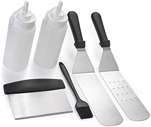 EKKONG 6pcs Griddle Accessories, 2 Spatulas, 1 Chopper Scraper, 2 Bottles, Basting Silicone Brush-Best for BBQ Grill, Flat Top Cooking, Camping and Tailgating Grill