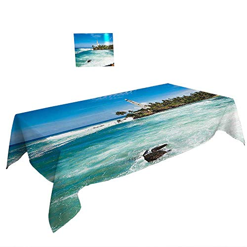 Spring & Summber Tablecloth W60 x L120 INCH,Natural Waterfall Decor Woodcut Style Mod Illustration of Mountain Stream and Waterfall Paradise Art Sage Green. Spill Proof and Waterproof ()