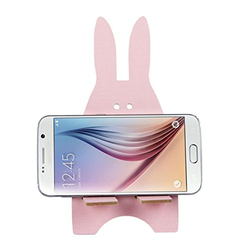 DZT1968 Universal Wooden Rabbit Cell Phone Desk Stand Holder For Tablet ipad iPhone (Pink)