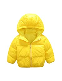 Mengxiaoya Girls Down Jacket Boys Hooded Winter Warm Light Coat Puffer Zipper