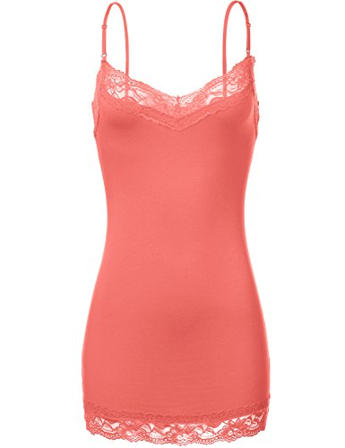 Luna Flower Women's Cami Lace Tank Tops - with Spaghetti Straps - Plus Coral 2X (GTEW180) (Lace Camis Trim Girls)