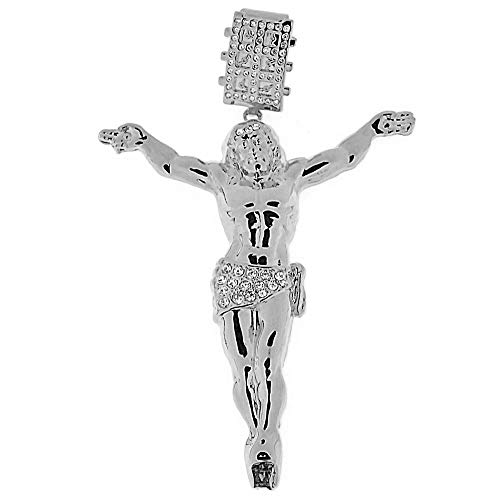sus Body Pendant Iced-Out Silver Tone Big Hip Hop Crucifix Charm ()